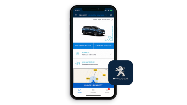 Nouveau SUV PEUGEOT 5008, application MyPeugeot®